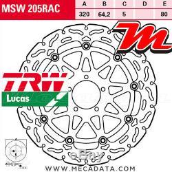Disque de frein Avant TRW Lucas MSW 205 RAC KTM 1290 Super Duke R ABS 2015+