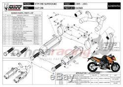 MIVV SUONO 2 Pot D'Echappement approuve acier noir KTM 990 SUPERDUKE 2009 09