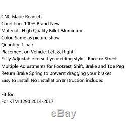 Racing Commandes reculées Rearset Foot pegs Kit Pour KTM 1290 Super Duke Blk