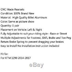 Racing Commandes reculées Rearset Foot pegs Kit Pour KTM 1290 Super Duke Blk FR