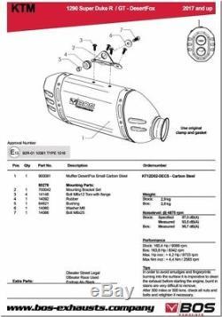 Silencieux Bos Desert Fox Carbone Ktm Superduke 1290 R / Gt 2017 1740129cs